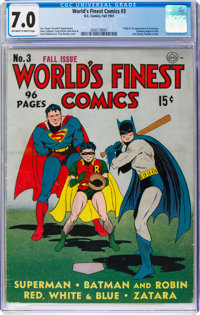 World's Finest Comics #3 (DC, 1941) CGC FN/VF 7.0 Off-white to white pages