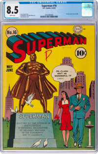 Superman #16 (DC, 1942) CGC VF+ 8.5 White pages