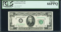 Fr. 2063-J $20 1950D Federal Reserve Note. J-B Block. PCGS Gem New 66PPQ