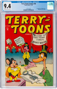Terry-Toons Comics #38 (Timely, 1945) CGC NM 9.4 Off-white to white pages