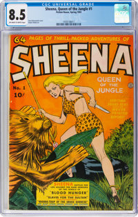 Sheena, Queen of the Jungle #1 (Fiction House, 1942) CGC VF+ 8.5 Off-white to white pages