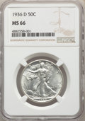 1936-D 50C MS66 NGC. NGC Census: (185/28). PCGS Population: (458/42). CDN: $600 Whsle. Bid for problem-free NGC/PCGS MS6...