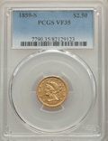 1859-S $2 1/2 VF35 PCGS. PCGS Population: (7/57). NGC Census: (2/84). CDN: $700 Whsle. Bid for problem-free NGC/PCGS VF3...