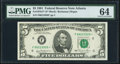 Fr. 1976-F* $5 1981 Federal Reserve Star Note. PMG Choice Uncirculated 64