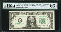 Engraving Error Fr. 1912-L $1 1981A Federal Reserve Note with Back Plate Number 129 at Left. PMG Gem Uncirculated 66 EPQ...