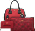 Luxury Accessories:Bags, Prada Set of Three: Red Top Handle Bag, Clutch & Wallet. Condition: 2. See Extended Condition Report for Sizes.... ... (Total: 3 Items)
