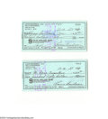 Autographs:Checks, Louis Boudreau Signed Check Lot of 2....