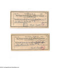 Autographs:Checks, Frank Crosetti Signed Check Lot of 2....