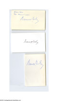 Autographs:Index Cards, Warren Giles Signed Index Card Lot of 3....
