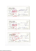 Autographs:Checks, Jesse Haines Signed Check Lot of 3....