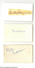 Autographs:Index Cards, Bucky Harris Signed Index Card Lot of 3....