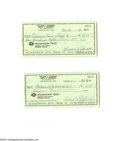 Autographs:Checks, Judy Johnson Signed Check Lot of 2....