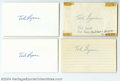 Autographs:Index Cards, Ted Lyons Signed Index Card Lot of 7....