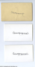 Autographs:Index Cards, Rube Marquard Signed Index Card Lot of 6....