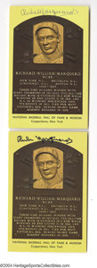 Autographs:Post Cards, Rube Marquard Signed Hall of Fame Plaque Lot of 2....