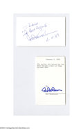 Autographs:Index Cards, Hal Newhouser Signed Index Card Lot of 2....
