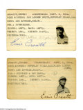 Autographs:Index Cards, Ernie Orsatti Signed Index Card Lot of 2....
