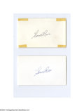 Autographs:Index Cards, Sam Rice Signed Index Card Lot of 4....