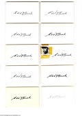 Autographs:Index Cards, Edd Roush Signed Index Card Lot of 10....