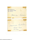 Autographs:Others, George Sisler Autograph Lot of 4....