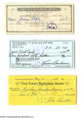 Autographs:Checks, Baseball Hall of Famers Signed Check Lot of 7....