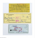Autographs:Checks, Baseball Hall of Famers Signed Check Lot of 5....