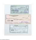 Autographs:Checks, Baseball Hall of Fame Pitchers Signed Check Lot of 5....
