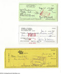 Autographs:Checks, Early Hall of Famers Signed Check Lot of 3....