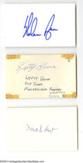 Autographs:Index Cards, Hall of Fame Pitchers Signed Index Card Lot of 9....