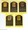 Autographs:Post Cards, Yellow Hall of Fame Signed Plaque Collection of 10....