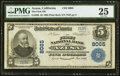 National Bank Notes:California, Azusa, CA - $5 1902 Plain Back Fr. 599 The First NB Ch. # 8065 PMG Very Fine 25.. ...