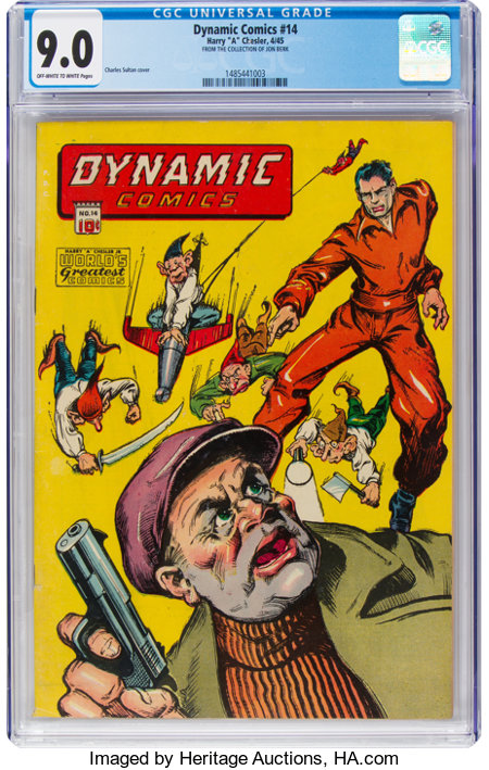 Dynamic Comics #14 (Chesler, 1945) CGC VF/NM 9.0 Off-white to white pages....