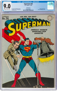 Superman #26 San Francisco Pedigree (DC, 1944) CGC VF/NM 9.0 Off-white to white pages