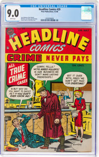 Headline Comics #29 (Prize, 1948) CGC VF/NM 9.0 White pages