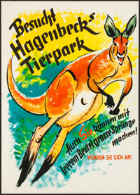 """Tierpark Hagenbeck (c. 1950s). Rolled, Very Fine. German Advertising Poster (16.5"""" X 23.25""""). Miscellaneous..."""