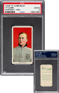 1909-11 T206 Ty Cobb - Ty Cobb (Portrait-Red) PSA Good 2