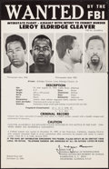 """Movie Posters:Miscellaneous, Wanted: Leroy Eldridge Cleaver (c. 1970). Rolled, Very Fine-. Poster (22.5"""" X 34.5""""). Miscellaneous.. ..."""