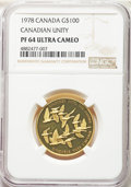 "Canada: Elizabeth II gold Proof ""Unification"" 100 Dollars 1978 PR64 Ultra Cameo NGC"