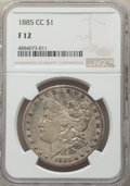 1885-CC $1 Fine 12 NGC. NGC Census: (15/10900). PCGS Population: (21/22740). CDN: $490 Whsle. Bid for problem-free NGC/P...