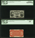 Fractional Currency:Third Issue, Fr. 1274SP 15¢ Third Issue Narrow Margin Face PCGS Choice New 63PPQ. Fr. 1273SP 15¢ Third Issue Narrow Margin Red Back PCG... (Total: 2 notes)
