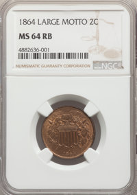 1864 2C Large Motto MS64 Red and Brown NGC. NGC Census: (607/685). PCGS Population: (1167/479). CDN: $250 Whsle. Bid for...