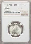 Standing Liberty Quarters, 1917 25C Type One MS64 NGC. NGC Census: (493/210). PCGS Population: (626/270). MS64. Mintage 8,740,000. ...
