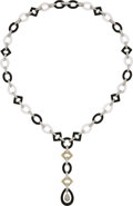 Estate Jewelry:Necklaces, Diamond, Rock Crystal Quartz, Black Onyx, White Gold Necklace, Eli Frei . ...