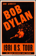"""Movie Posters:Rock and Roll, Bob Dylan 1981 U.S. Tour (1981). Very Fine. Concert Window Card (14"""" X 22""""). Rock and Roll.. ..."""