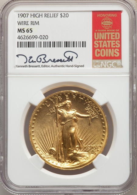 1907 $20 High Relief, Wire Rim 65 NGC