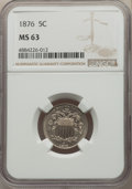 Shield Nickels: , 1876 5C MS63 NGC. NGC Census: (55/141). PCGS Population: (77/155). CDN: $275 Whsle. Bid for problem-free NGC/PCGS MS63. Min...