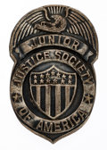 Premiums:Radio, Junior Justice Society of America Club Silver Finish Badge (DC, 1942)....