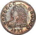 Bust Dimes, 1827 10C Pointed Top 1, JR-4, R.2, MS65 PCGS. CAC....