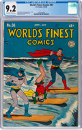 Golden Age (1938-1955):Superhero, World's Finest Comics #36 (DC, 1948) CGC NM- 9.2 Off-white to white pages....