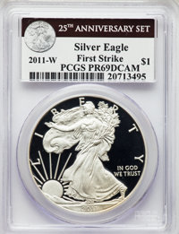 2011 SET 25th Anniversary Silver American Eagle Five-Piece Set PR69 PCGS. This Set will also include the following:...